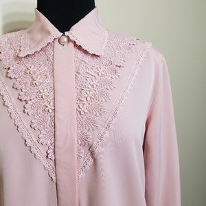 Vintage Blouse Beaded Lace Button Long Sleeve 10